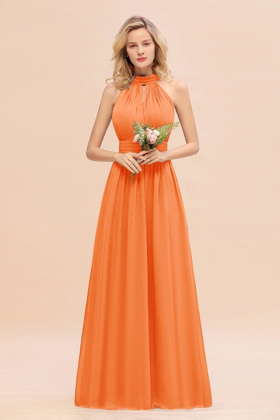 BM0758 Glamorous High-Neck Halter Bridesmaid Affordable Dresses with Ruffle_15