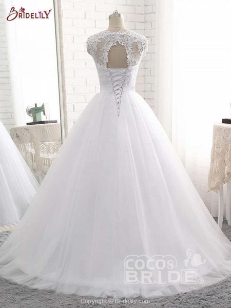Elegant V-Neck Ball Gown Tulle Wedding Dresses_4