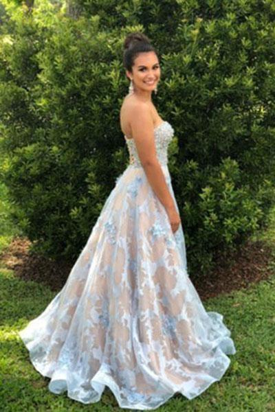 Floor Length Sweetheart Lace Long Sleeveless Wedding Dress_1