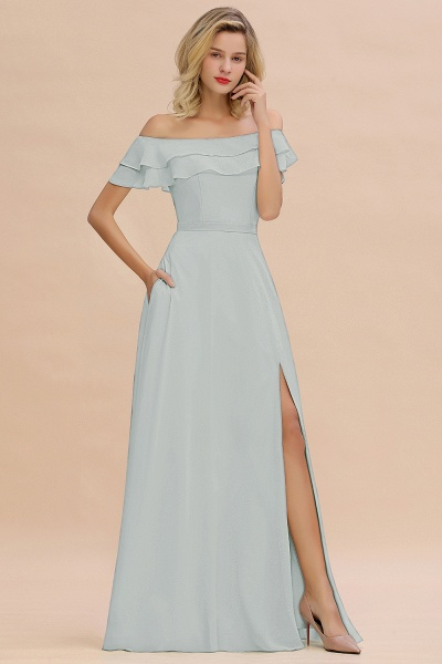 BM0775 Off-the-Shoulder Front Slit Mint Green Long Bridesmaid Dress_38