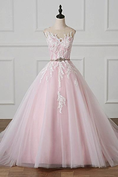 Light Pink Scoop Neck Lace Applique  Beaded Wedding Dress_1