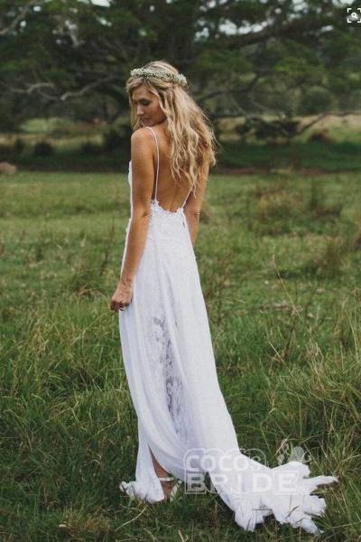 Casual Boho Spaghetti Straps Lace Beach Wedding Dress_2