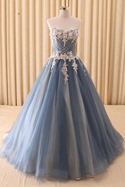 Beautiful Gray Organza Lace Applique Sweetheart A-Line Wedding Dress_1