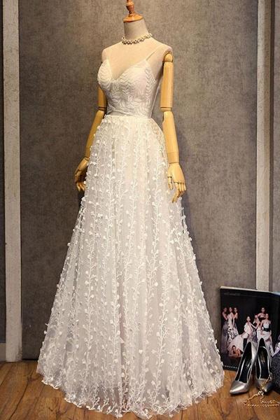 Sweetheart Long Spaghetti Straps Wedding Dress_1