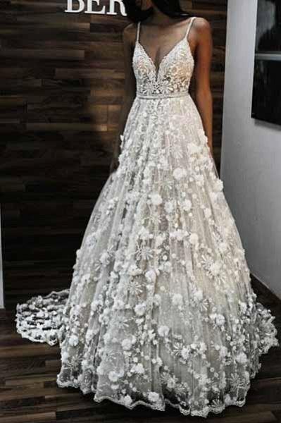 Charming V Neck Spaghetti Straps Lace Backless Long Wedding Dress_1