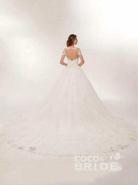 Elegant Long Sleeves Lace Appliques Wedding Dresses_3