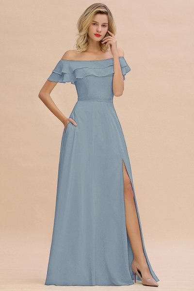 BM0775 Off-the-Shoulder Front Slit Mint Green Long Bridesmaid Dress_40
