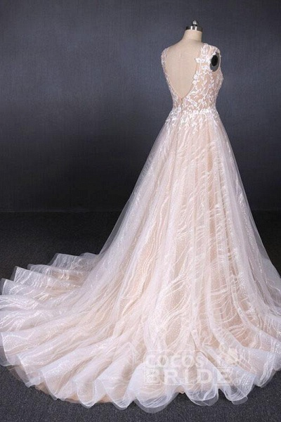Puffy Sleeveless Lace Elegant A Line Backless Wedding Dress_4