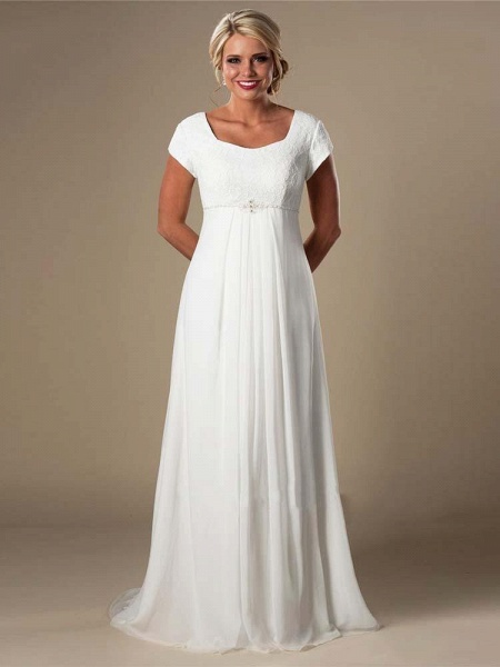 Elegant Square Cap Sleeves A-Line Ruffles Wedding Dresses_1