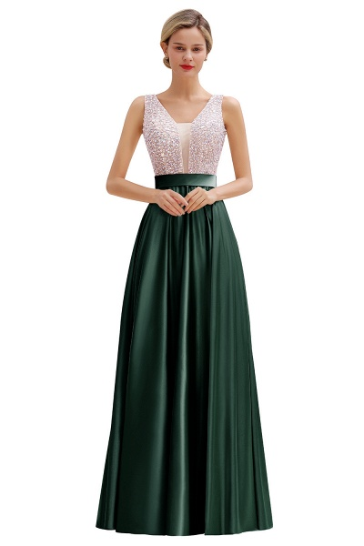 Awesome Open Back Beading Satin A-line Prom Dress_5
