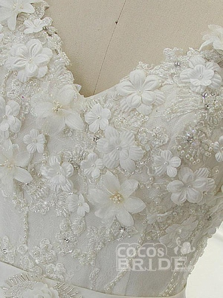 Luxury V Neck Half Sleeves Lace Ball Gown Wedding Dresses_4