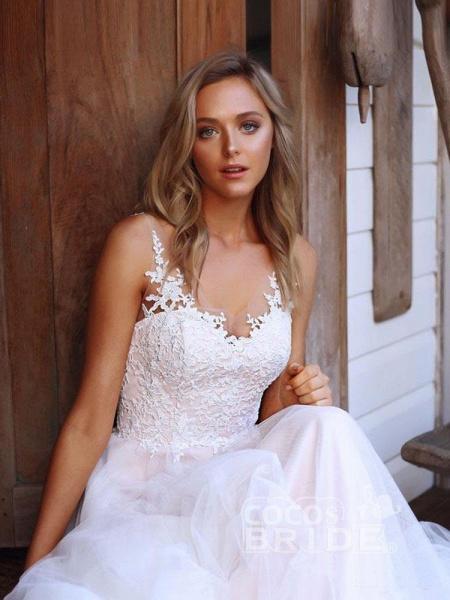 V-Neck Lace Tulle Wedding Dresses_5