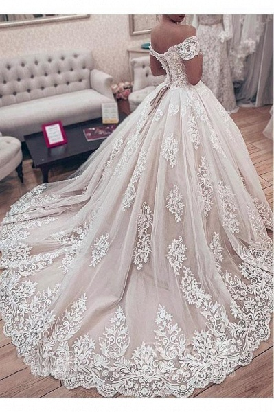 Ball Gown Off the Shoulder with Lace Appliques Gorgeous Wedding Dress_2