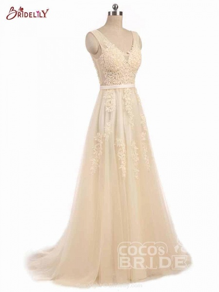 Glamorous V-Neck Lace Ribbon A-line Wedding Dresses_2