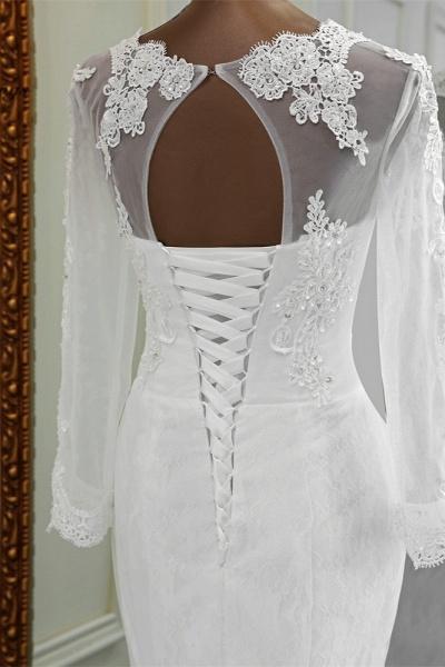 Elegant Mermaid Tulle Jewel Long Sleeves Wedding Dress_7