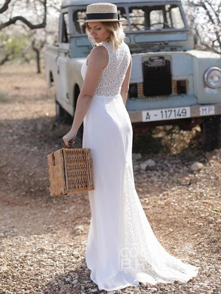 Elegant V Neck Lace Mermaid Wedding Dresses_3