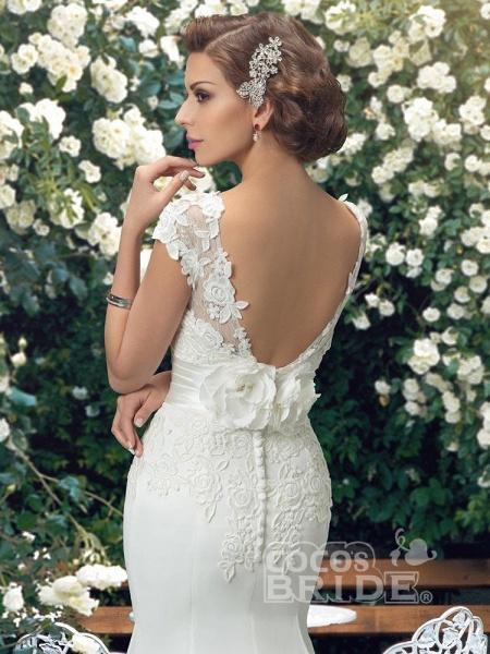 Fashion Cap Sleeve Lace Backless Mermaid Wedding Dresses_4