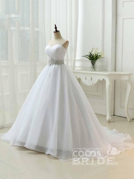 Perfect Sweetheart Lace-Up Ruffles Sash Wedding Dresses_3