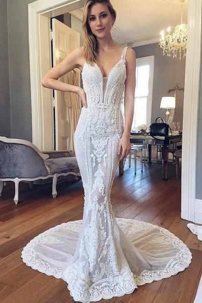 Straps Mermaid Deep V-neck Sleeveless Backless Tulle Beach Wedding Dress_1
