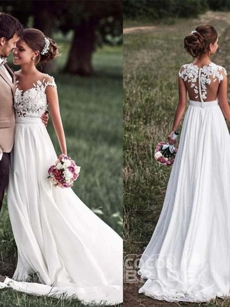 Vintage Cap Sleeves Lace Ruffles A-Line Wedding Dresses_3