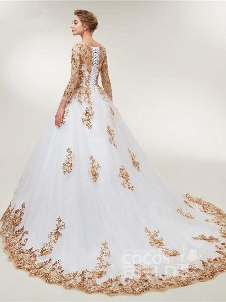 Golden Jewel Long Sleeve Ball Gown Wedding Dresses_2