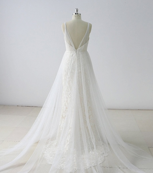 Simple White Lace V Neck Long Halteres Long Wedding Dress_2