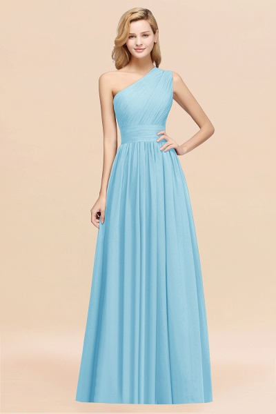 Elegant A-Line Burgundy Chiffon One-Shoulder Sleeveless Ruffles Floor-Length Bridesmaid Dresses_23