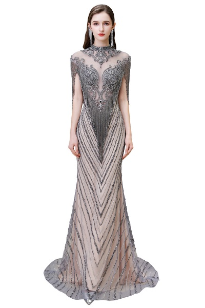 High Neck Cap sleeves Sparkle Beads Long Prom Dresses_11