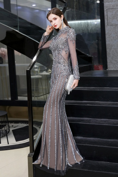 Long Sleeve Mermaid Sequins High-Neck Evening Gowns_7