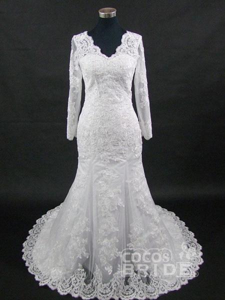 V-Neck Long Sleeves Lace Mermaid Wedding Dresses_4