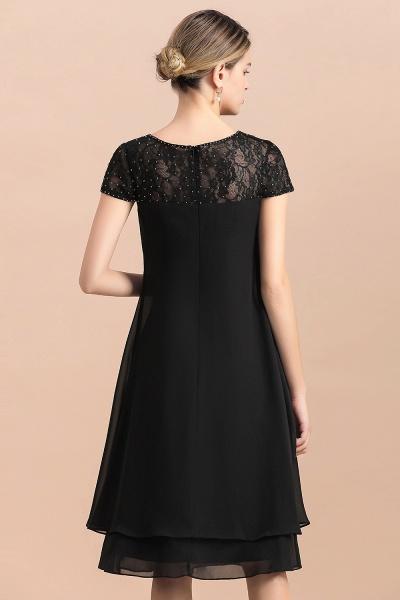 Chiffon Black Cap Sleeve Short Mother of Bride Dress_8