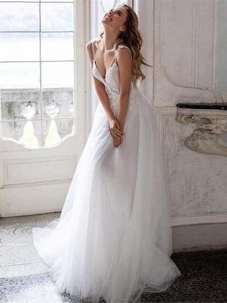 V-neck Backless Boho Wedding Dresses_1