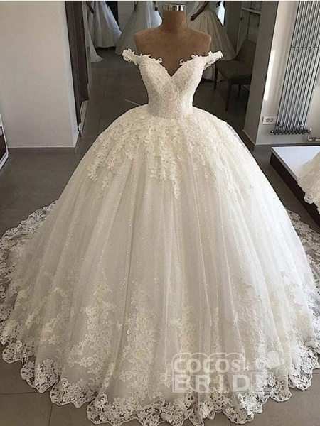 V-Neck Lace Sequins Ball Gown Wedding Dresses_3