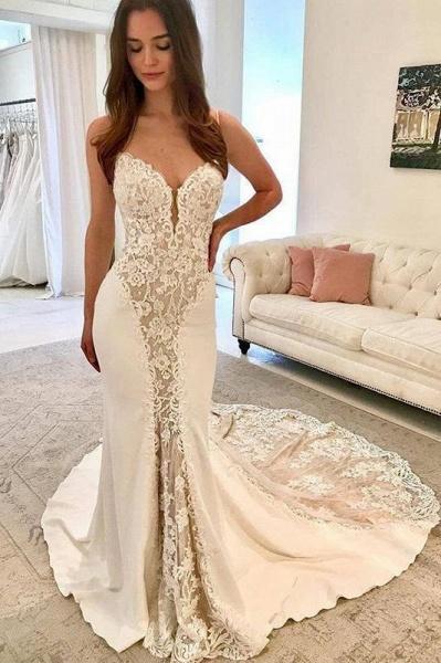 Ivory Satin Gorgeous Lace Spaghetti Strap Vintage Mermaid Wedding Dress_1