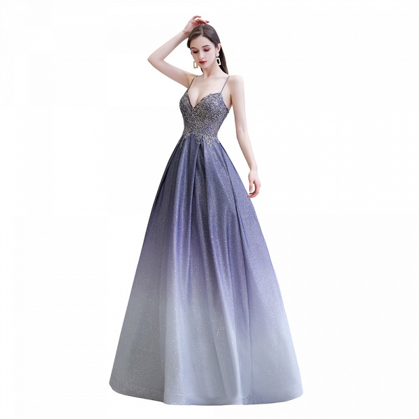 Elegant Spaghetti Straps Appliques Beads Ombre Prom Dress_1