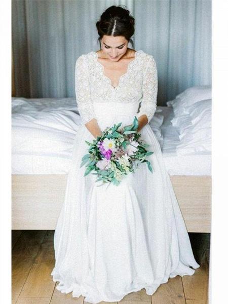 Romantic V Neck Chiffon Lace A Line Wedding Dresses_1