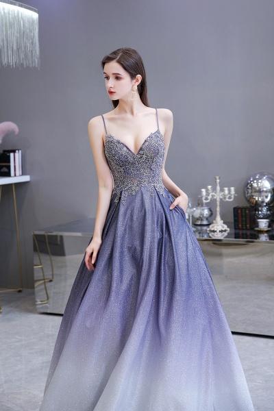 Elegant Spaghetti Straps Appliques Beads Ombre Prom Dress_10
