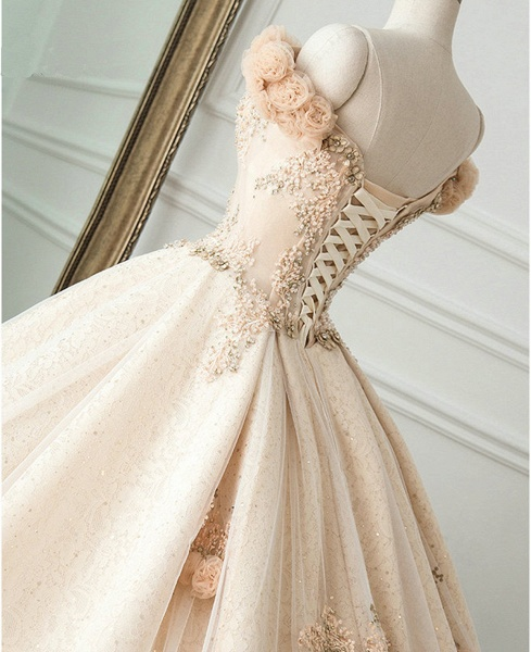 Princess Champagne Lace Off Shoulder Court Train Beaded Wedding Dress_3