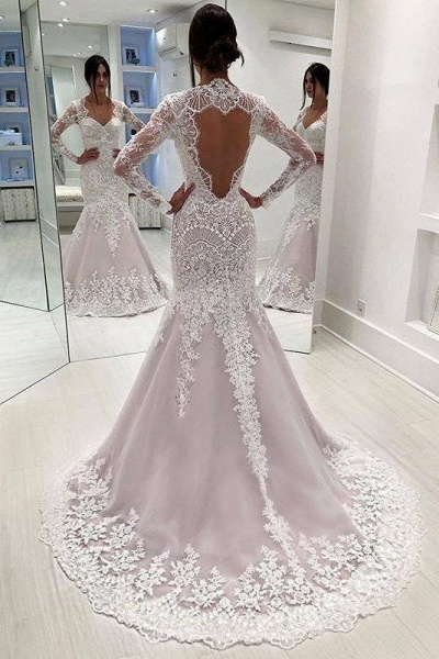 Vintage Sleeves Mermaid Long Open Back Wedding Dress_1