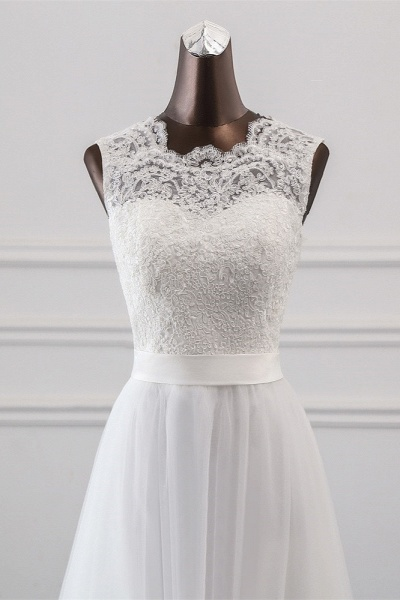 Elegant Long A-line Jewel Tulle Wedding Dress with Appliques Lace_4