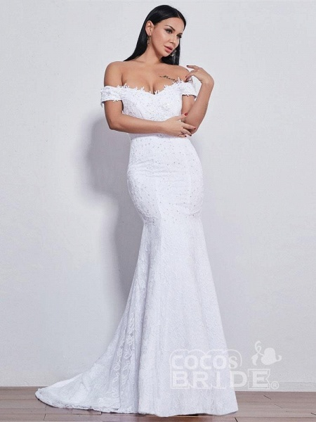 Off-the-shoulder Sweetheart Beaded Mermaid Wedding Dresses_2