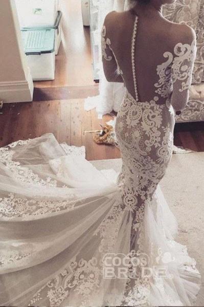 Pretty Mermaid Lace Appliques Long Sleeves Sheer Tulle Wedding Dress_3