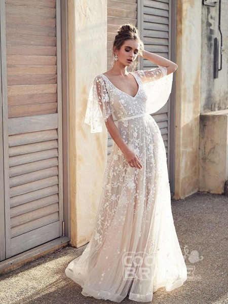 Cheap V Neck Half Sleeve Lace Boho Wedding Dresses_5