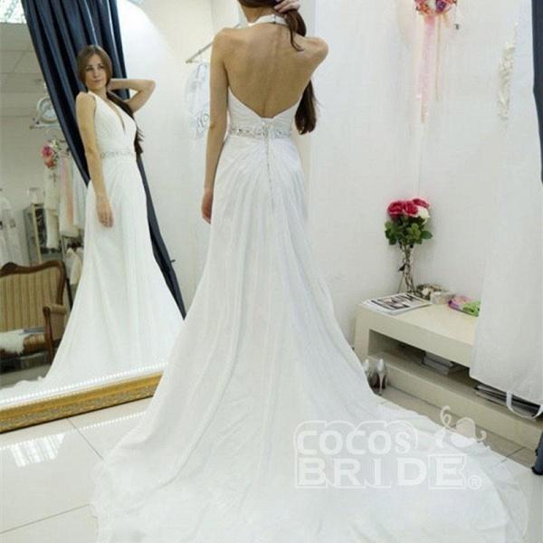 A-line Halter Chiffon Backless Court Train Beach Wedding Dress_3