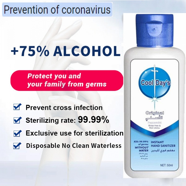 20 Bottles*50ml Cool Day's Instant Waterless Hand Sanitizer 75% Alcohol_1