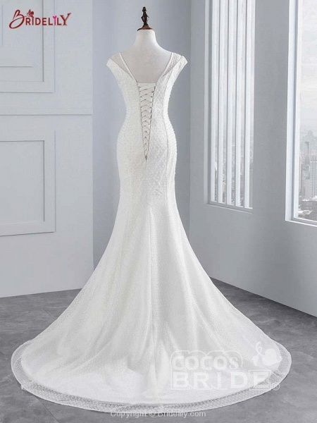 Cap Sleeves Lace-up Mermaid Wedding Dresses_3