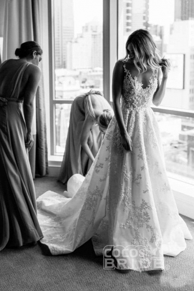 Vintage Appliques Lace Gowns Sleeveless Wedding Dress_4