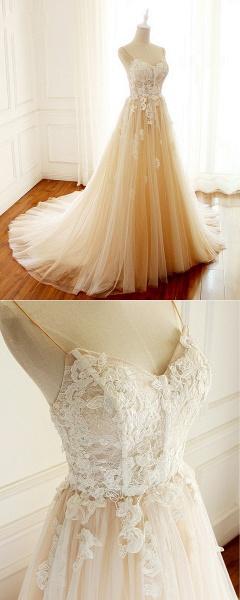 Sweetheart Creamy Tulle Spaghetti Sweep Train Wedding Dress_4