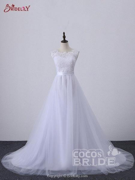 Illlusion A-Line Lace-Up Ribbon Wedding Dresses_2