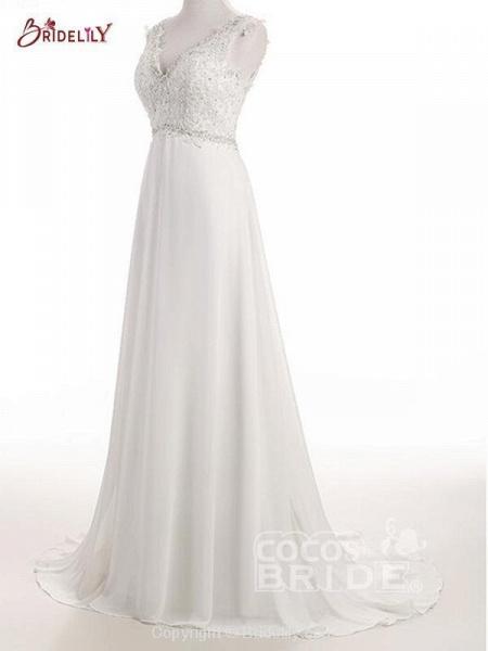 Elegant V Neck Lace Chiffon A-Line Wedding Dresses_3